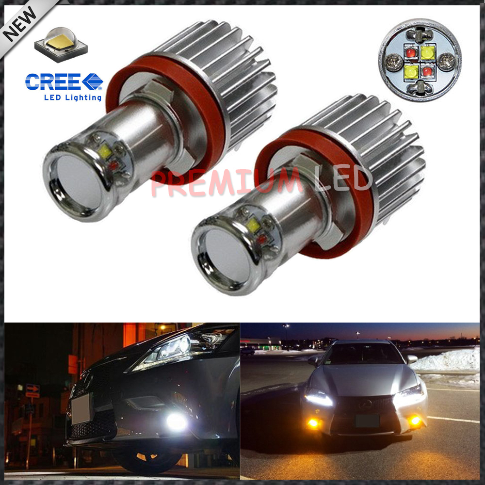 2pcs Color Switchable Xenon White/Amber Yellow 20W CRE'E High Power H11 H8 H9 H16 LED Bulbs Conversion Kit For Fog Lights or DRL