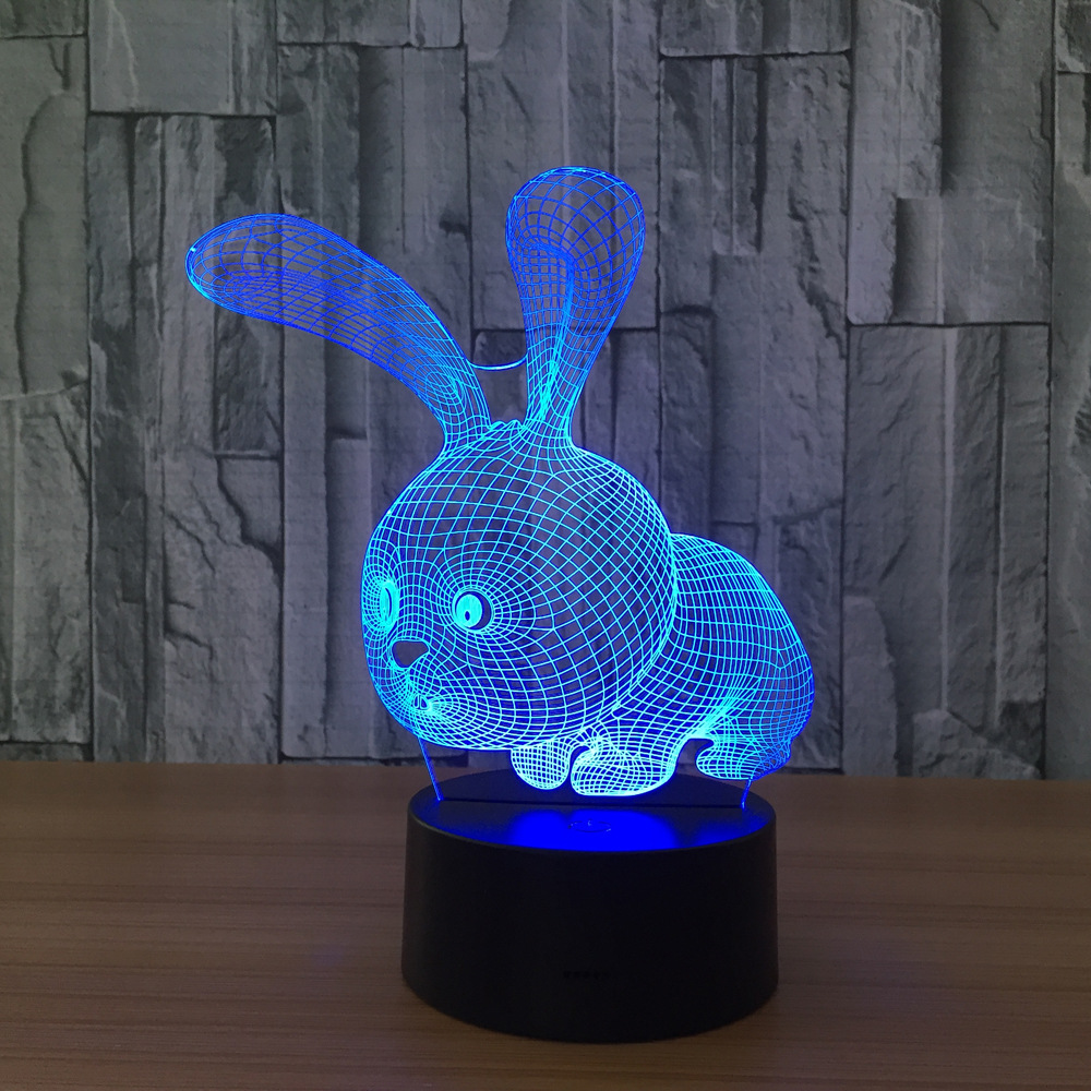 2017 Cute Rabbit Night Light for Children Carton USB 7Color Changing Touch Luminaria 3D Bedroom Desk