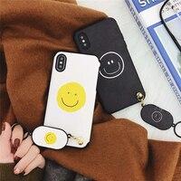 Gülümseme iPhone7 Çiftler Için Yumuşak Deri Cep Telefonu Kılıfları 7 Artı iPhone6 Için Mat Plastik Koruyucu Kabuk 6 S 6 artı Coque Funda