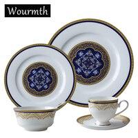 Wourmth Western Style Blue Creative Ceramic Bone China Steak Spaghetti Flat Plate Soup Dish Coffee Milk
