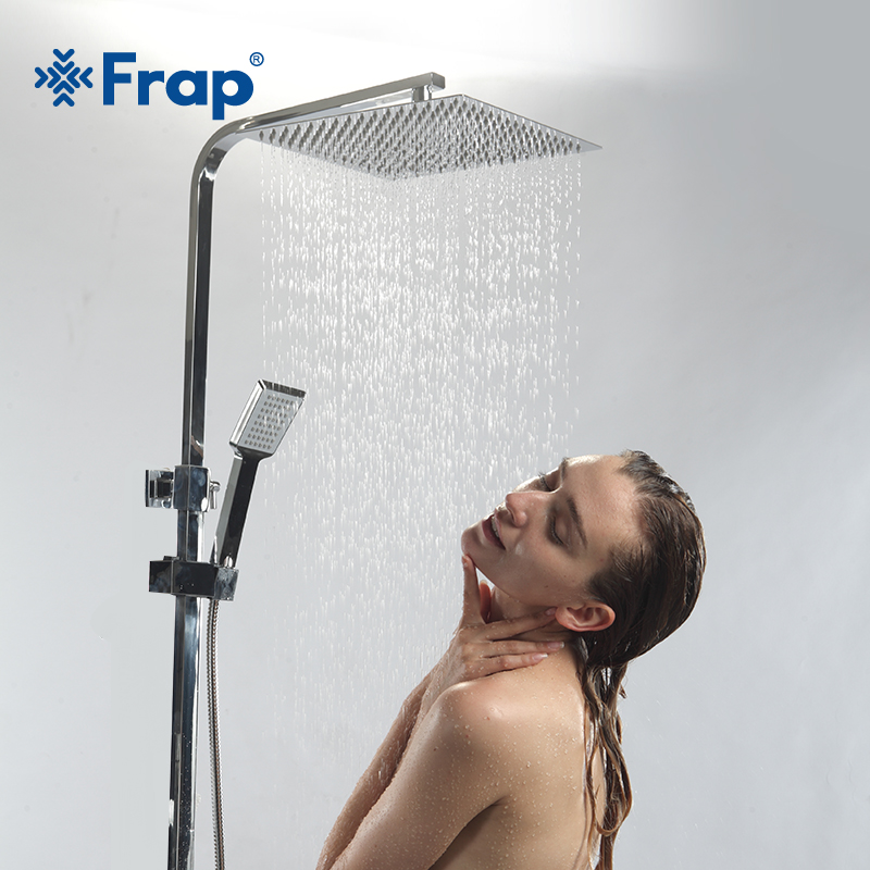 Frap Bathroom shower faucet panel column rainfull mixer tap brass Bath shower Wall Mounted Stainless steel cabine douchette set