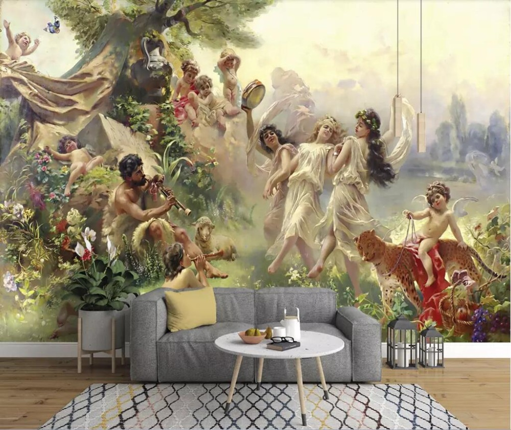 European-style Classical Oil Painting Angel Paradise Party Dancing Mural Background Wall