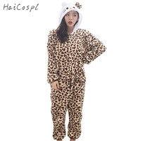 Kobiety Cosplay Costume Party Garnitur Flanelowe Kigurumi Piżamy Zwierząt Leopard Ciepłe Zipper Projekt Dziewczyna Anime Onesie Dorosłych Piżamy