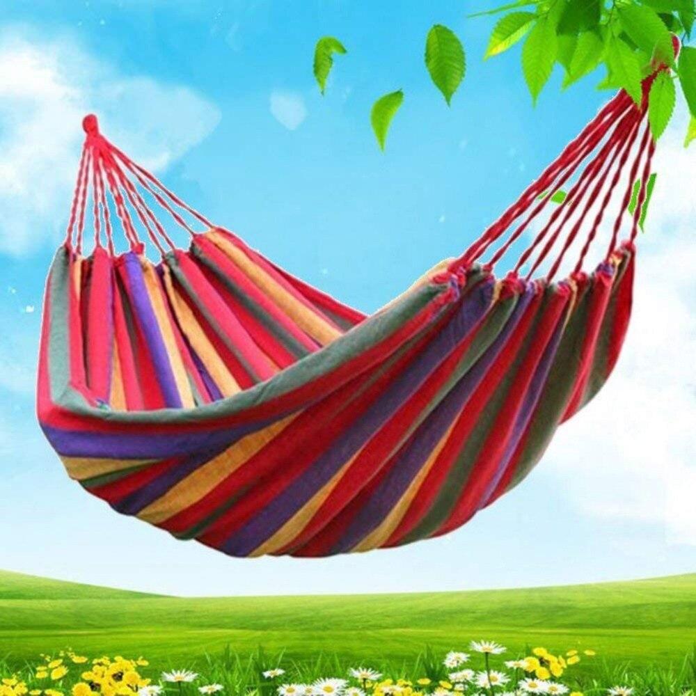 купить Outdoor Canvas Camping Hammocks Garden Swing Hanging Chair Sleeping bed portable Travel hiking Hammock Blue Red 280*80cm недорого