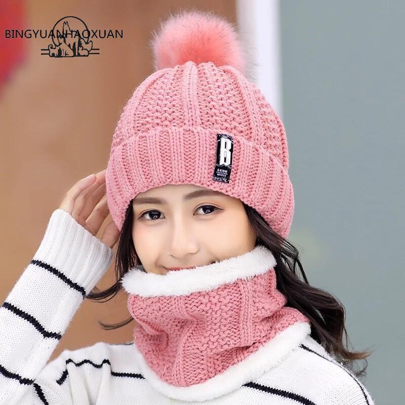bingyuanhaoxuan-hiver-chapeau-tricote-epaissi-coton-femmes-chapeau-chaud-pom-poms-chapeaux-pour-femmes-fille-tricote-bonnets-femme-casquette