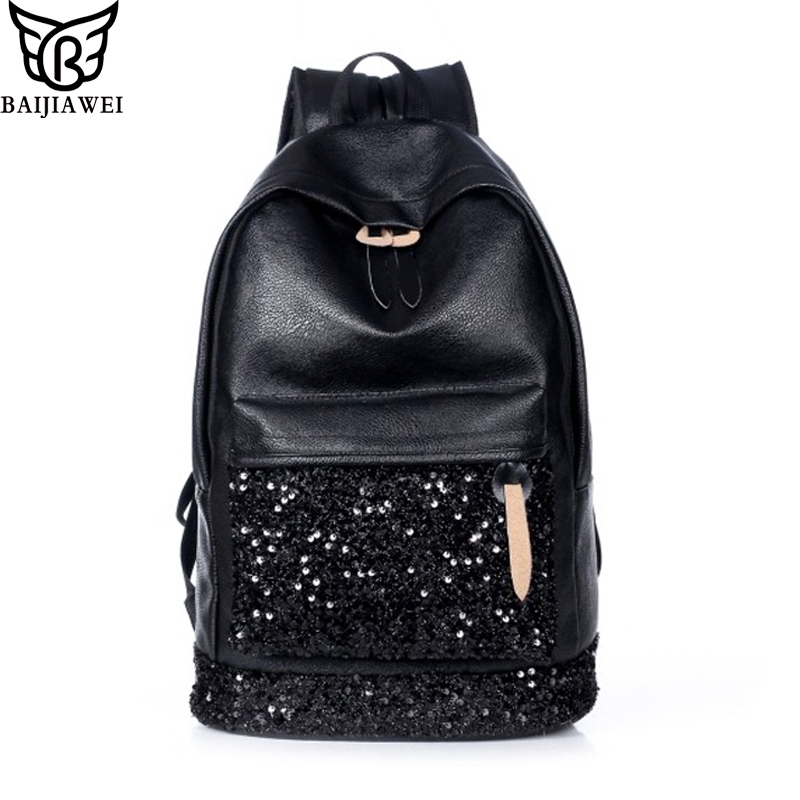 BAIJIAWEI Fashion Women Backpack Big Crown Embroidered Sequins Backpack Women Leather Backpacks High Quality Girls School Bags