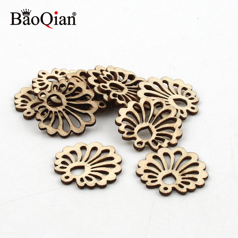 20pcs 25mm Laser Cut Wood Slices Flower Home Wood Decoration Crafts Hanging Ornament Diy Wooden Scrapbooking Accessories