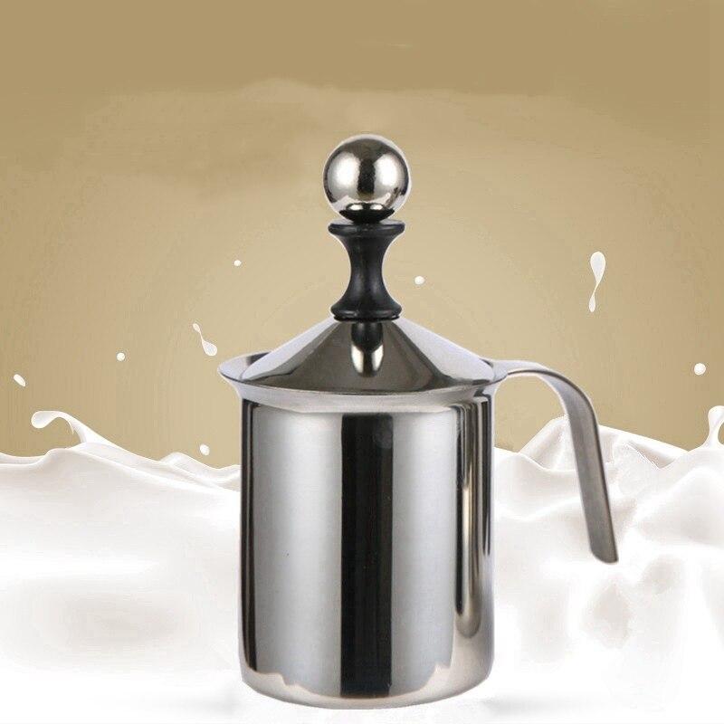 Stainless Steel Milk Foam Double deck Coffee Pot Filtration Cup Push Type Foamer Coffee Ware Manual Set Cafe Tools 1psc/400ml