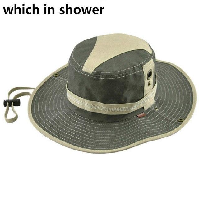 a6c30a2f1e8c8 Algodón ala ancha sombrero pescador cadena Patchwork ala grande verano  protección UV sombrero del cubo playa