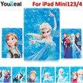 Frozen Cartoon PU Cover Case For Fundas iPad Mini 1 2 3 iPad Mini4 Tablet Houses Coque Capa Case+Stylus Pen