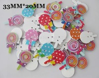 YH0048 Loose buttons mix 30pcs 33mm*20mm Candy Pattern Printed 2 holes white wood Button DIY sewing accessory