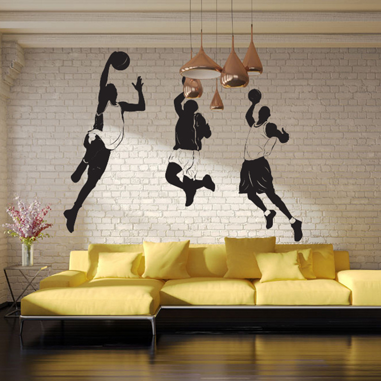 Play Basketball Sports Star Personality Wall Stickers Boys Bedroom Living Room Decorations Stickers Removable Waterproof Decals
