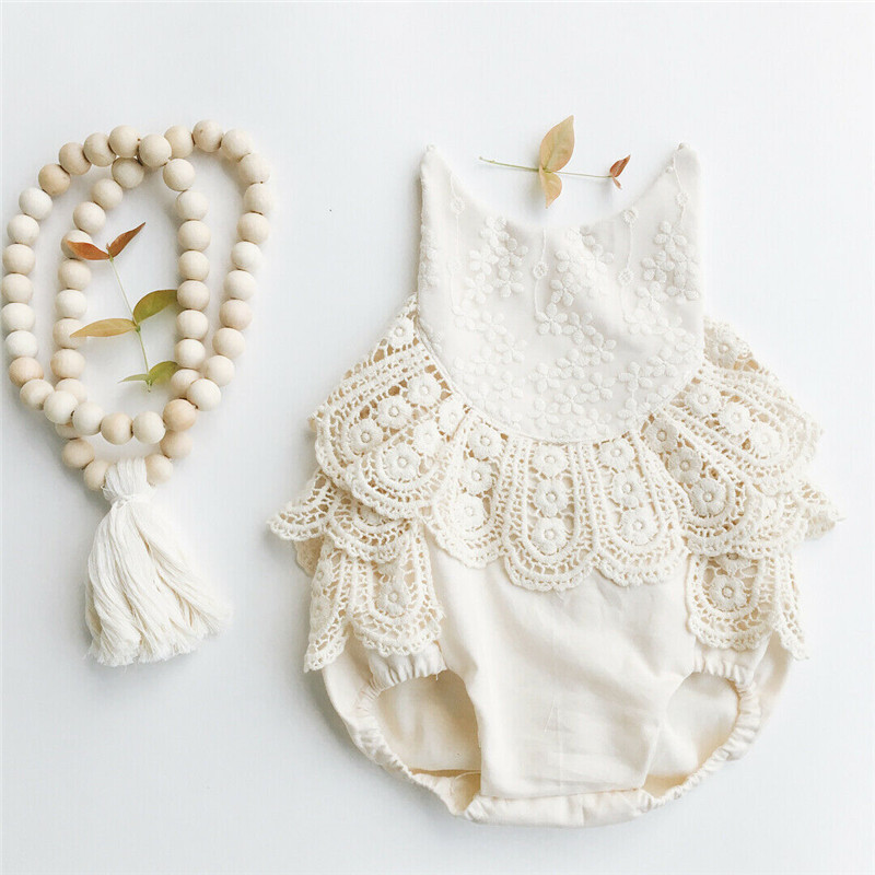 0-12M Infant Baby Girl Clothes Lace Bodysuits Flowers Belt Sleeveless Sunsuits Strappy O-Neck Backless Baby Girl Jumpsuits