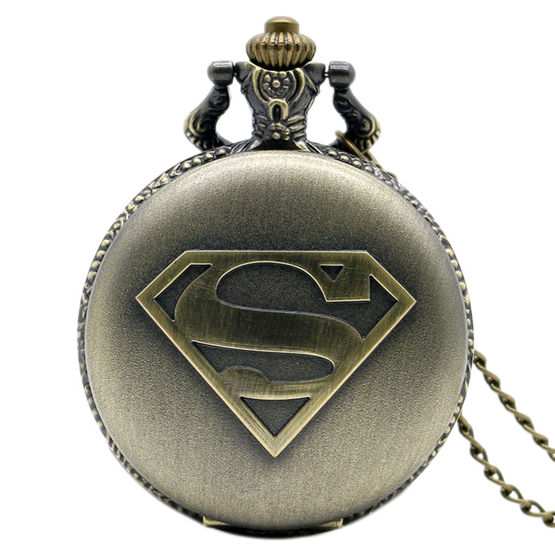 Super Hero Theme Accessory Pendant Quartz Pocket Watch Superman Bronze/Silver/Black Watch Gift Reloj 2016 new arrival sailor moon theme pretty soldier design case bronze quartz pocket watch gift to children girls