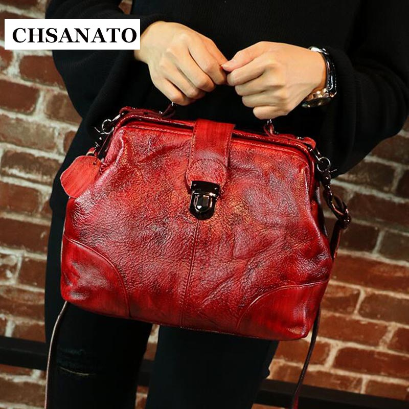 CHSANATO Small Shoulder Sac Crossbody Bags For Women Messenger Bags Vintage Leather Doctor Bags Handbags Women Famous Brand