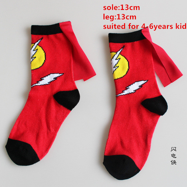 The Flash Socks  4-6Year Kids Socks Boys Girls Cute Cartoon Blitzmann Sports Casual Socks With Cape