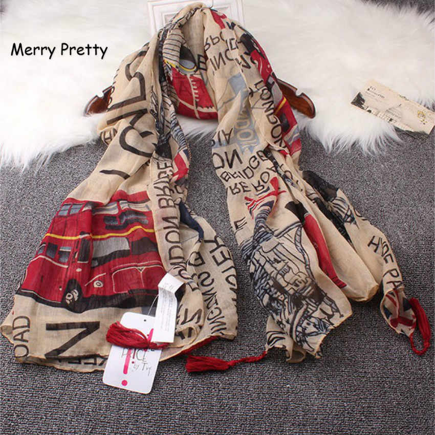 Merry Pretty Vintage Style fashion women scarf Euro Fashion British style London Tower Bridge letter & bus flag printed scarves