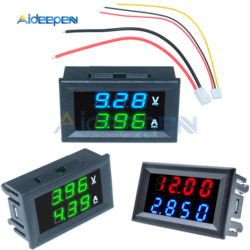 <font><b>DC</b></font> <font><b>100V</b></font> 200V 10A <font><b>50A</b></font> Mini Digital <font><b>Voltmeter</b></font> <font><b>Ammeter</b></font> 3/4 Bit Volt Voltage Current Meter Tester Red Blue Green LED Dual Display image
