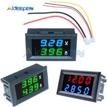 Dc 100v 200v 10a 50a mini amperímetro voltímetro digital 3/4 bit volt tensão medidor de corrente tester vermelho azul verde led dupla exibição