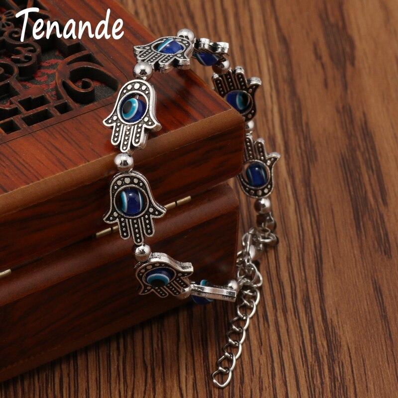 Tenande 2 Color Vintage Natural Stone Beads Hamsa Hand Evil Eye Bracelets & Bangles for Women Jewelry Bohemian Maxi Bijoux