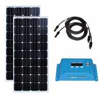 Kit pannello solare 300w del Modulo Solare 12v 150w 2 Pcs Regolatore di Carica Solare 12 v/24 v 10A Solare Cavo 10M MC4 Connettore CAMPER Caravan