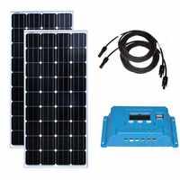Kit solar panel 300w Solarmodul 12v 150w 2 Pcs Solar Laderegler 12 v/24 v 10A Solar Kabel 10M MC4 Anschluss RV Caravan