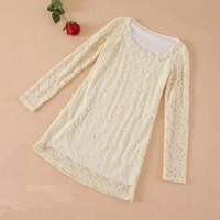 Sweet Beading Pearl Blouse Lace Long Sleeve O Neck Women Beige Shirt Tops Blouses Blusas Autumn