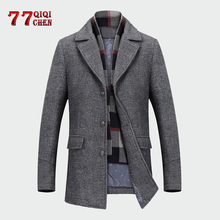 Casual Wool Trench Coat Men Winter Business Long Thicken Overcoat Jacket Male Ab