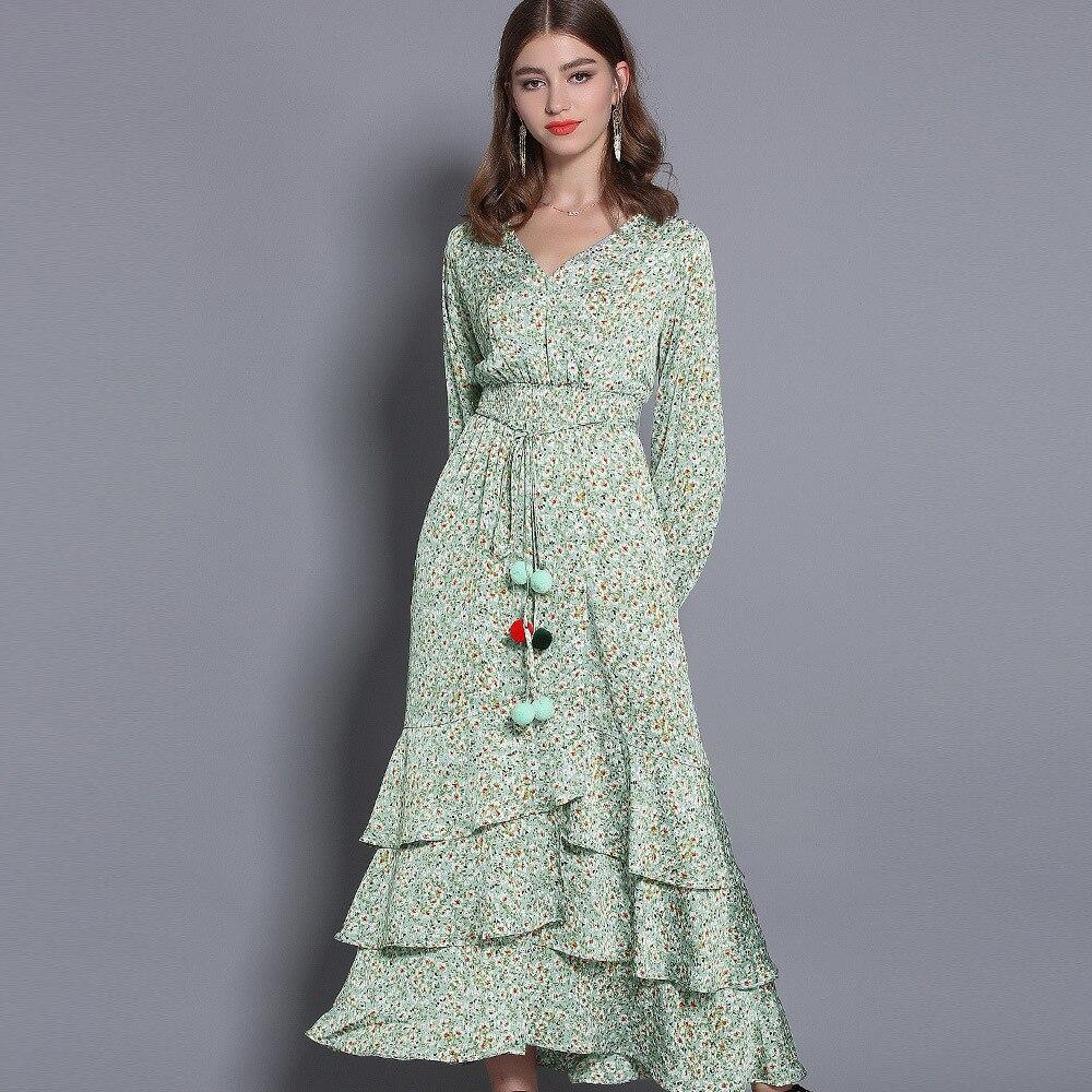 2019 Nouveau Papillon Long Robe Boîtes Printemps Beach Femmes Nœud Manches Floral Elastique Couches Green Lanterne Robes Froncé Taille Vert Balles Ruffles OX8nwk0P