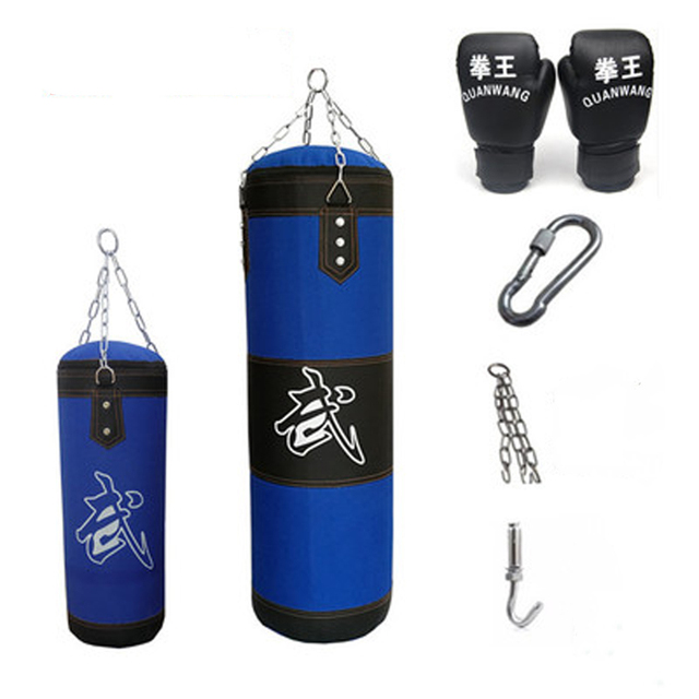 60/80cm/100cm/120cm Sandbag Thickened Canvas Punching Bag Sports Training Hook Hanging Kick Empty Boxing Bags with Boxing Gloves