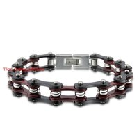 Punk Jewelry Hot Selling Red Black Motorcycle Bike Chain Stainless Steel Men Women Bracelet 8 5