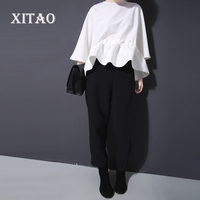 2016 New European Wind Casual Style Ruffles Hem Solid Color A Line O Neck Empire Waist