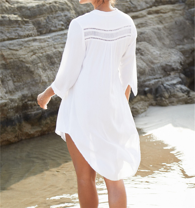Women Swimsuit Cover Ups Mandarin Sleeve Kaftan Beach Tunic Dress Robe De Plage Solid White Cotton Pareo Beach Cover Up #Q429
