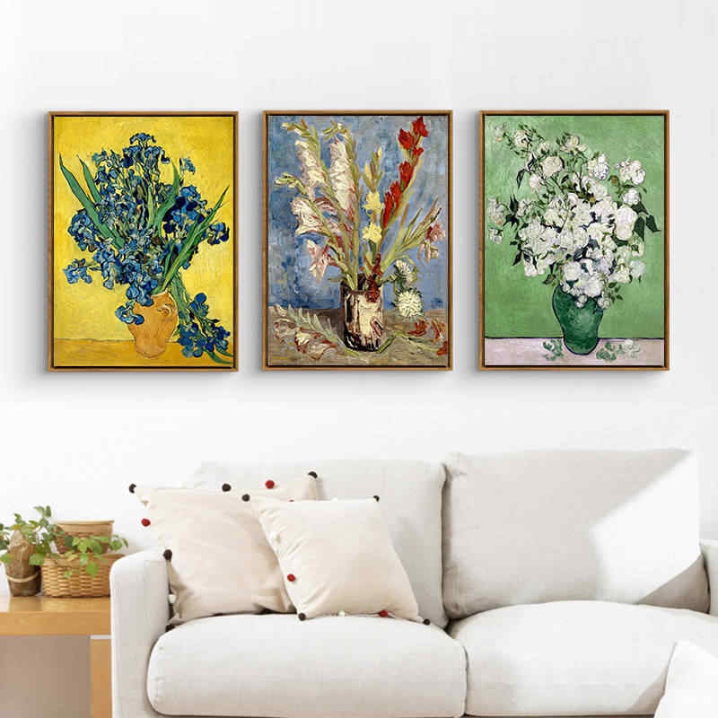 Van Gogh European Flower oil painting wall pictures for living room decoracion canvas posters wall art prints home decor