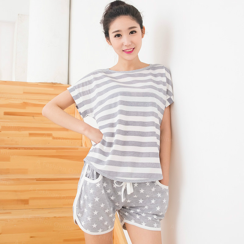Jersey de algodón señoras verano Shorts Pijama Conjunto