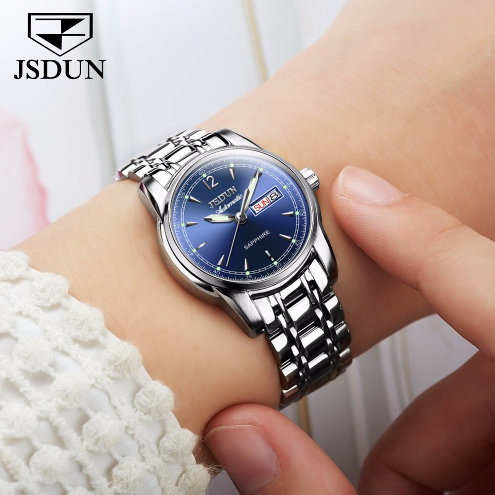 JSDUN Femmes montres Automatique Mécanique Montre Dames Montre Étanche marque De Luxe Horloge Lumineux Mains Date Semaine De Mode NOUVEAU