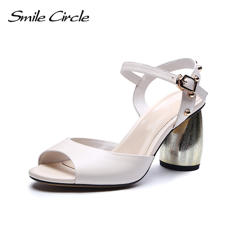 Smile Circle Summer Sandals Women Fashion rivet high heels Genuine Leather Wedding party Shoes For Woman Pumps 2018 new