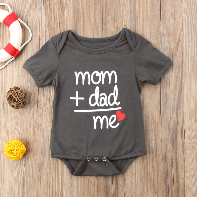 "Baby Boy and Girl Letter ""Dad + Mom"" Short Sleeve Romper"