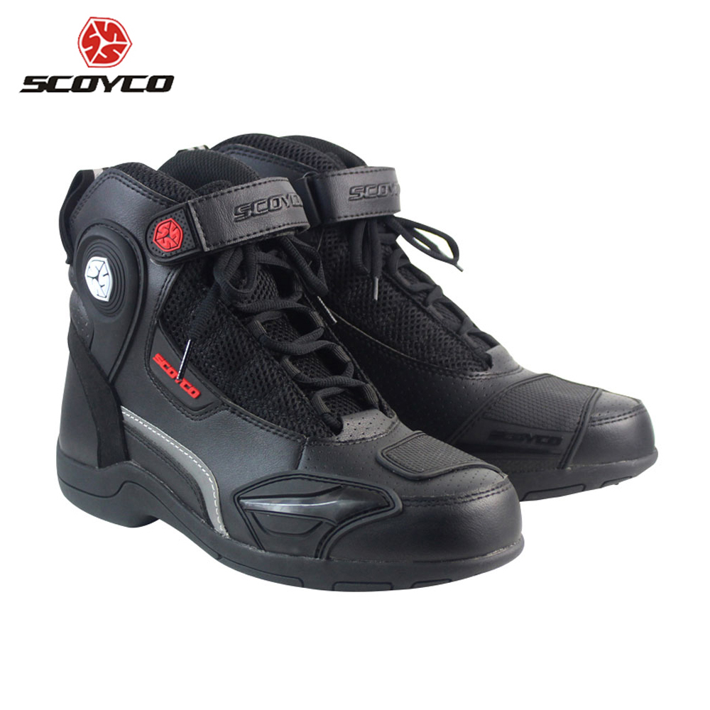 SCOYCO Motorcycle Boots Leather Motocross Off-Road Racing Boots Breathable Motorbike Riding Motorcycle Shoes Men Moto Boots