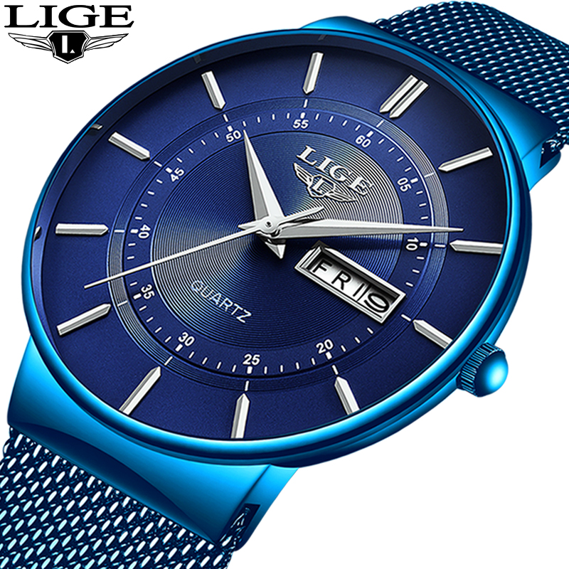 2019 New Blue Quartz Clock LIGE Mens Watches Top Brand Luxury Watch For Men Simple All Steel Waterproof Wrist Watch Reloj Hombre