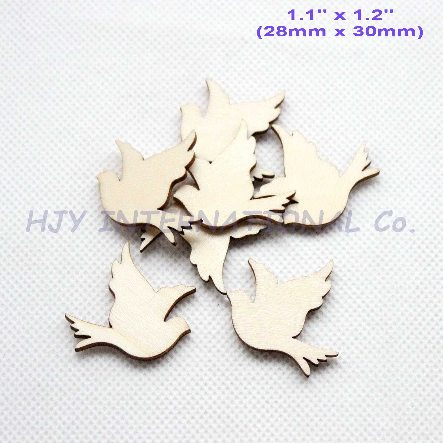 (100pcs/lot) 30mm Natural Blank Wooden Peace Birds Ornaments Rusitc Favor Crafts In Bulk-CT1418B