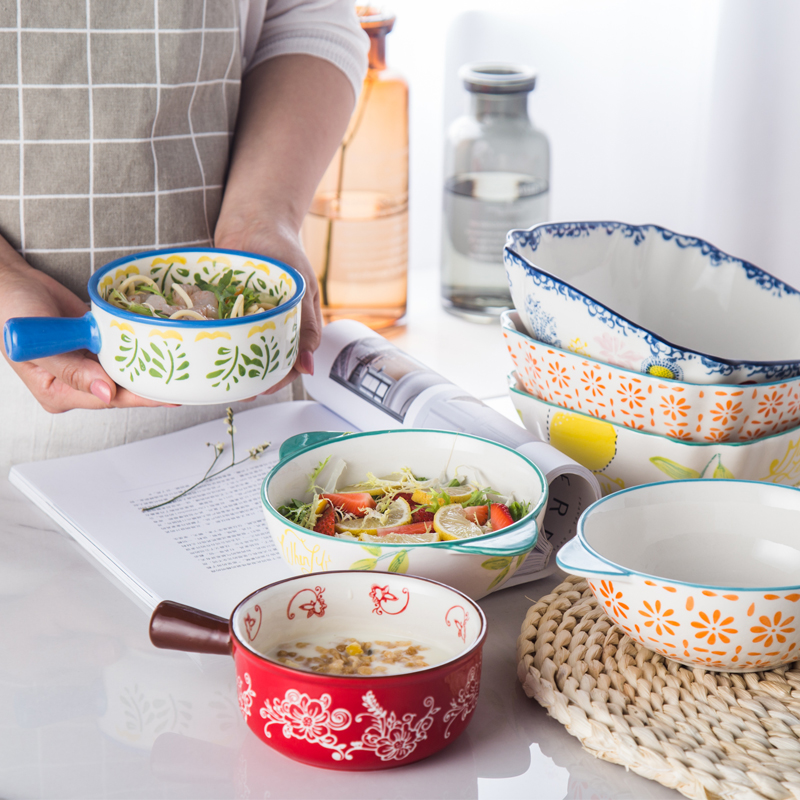 Creative Ceramic Salad Bowl Household Rice Bowl Japanese Tableware Set Western Style Bowl Suit Personality Hand Painted Bowl