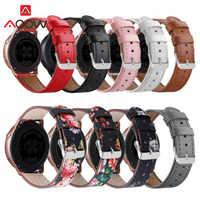 Blume Druck Echtes Leder Armband für Samsung Galaxy Uhr Aktive 42mm S2 Rosa Red Ersatz Armband Band Strap 20mm