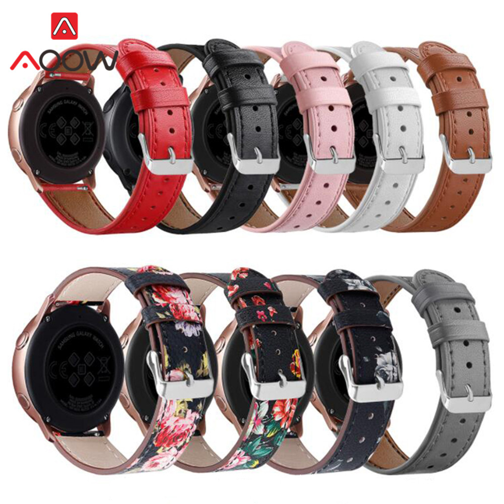 Flower Printing Genuine Leather Watchband For Samsung Galaxy Watch Active 42mm S2 Pink Red Replacement Bracelet Band Strap 20mm