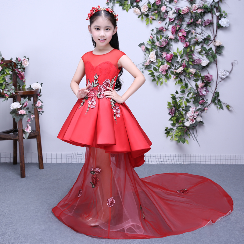 4 Colors Children's Princess Girls Dress Summer 2017 New Trailing Detachable Kids Party Dresses For Girls Birthday Dress QX196
