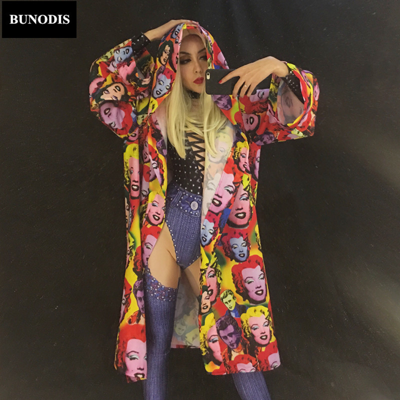 BU126 Monroe Beautiful Smile Face Women Coat Fit For Jumpsuit And Bodysuit Outfit Paryt Nightclub Stage Wear Costume Women Cloth