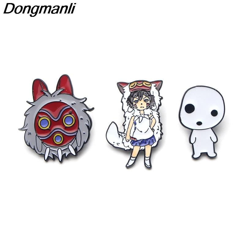 P3169 Wholesale 20pcs lot Mononoke Hime Mask Metal Enamel Pins and Brooches for Women Men Lapel