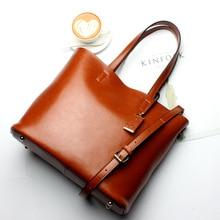 Top selling Women font b Handbag b font Genuine Leather Bucket Casual Bag Ladies font b