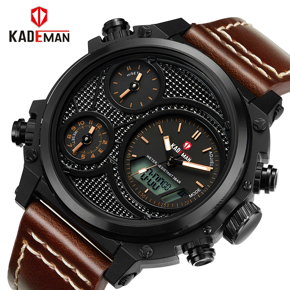 Mens Watches Top Luxury Brand Men Leather Sports Watches KADEMAN Men's Quartz Digital Clock Waterproof Military Wrist Watch
