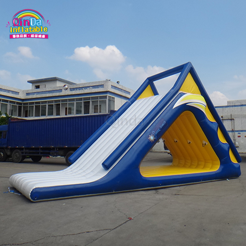 Commercial used water park inflatable floating water triangle slide for sale giant pvc commercial inflatable water slide with pool for sale